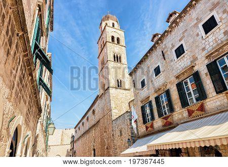 Belfry At Stradun Street In Old Town Dubrovnik