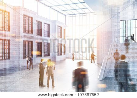 White brick office wall with windows a large staircase and a panoramic window. Glass ceiling. Empty office hall. People. 3d rendering mock up toned image double exposure