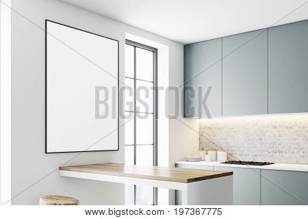 Gray kitchen interior with a bar like table two stools near it and a row of countertops. A framed vertical poster on a wall. Sid view. 3d rendering mock up