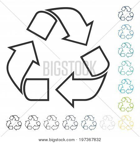 Recycle icon. Vector illustration style is flat iconic symbol in some color versions.
