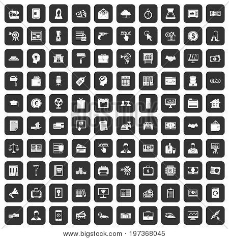100 lending icons set in black color isolated vector illustration