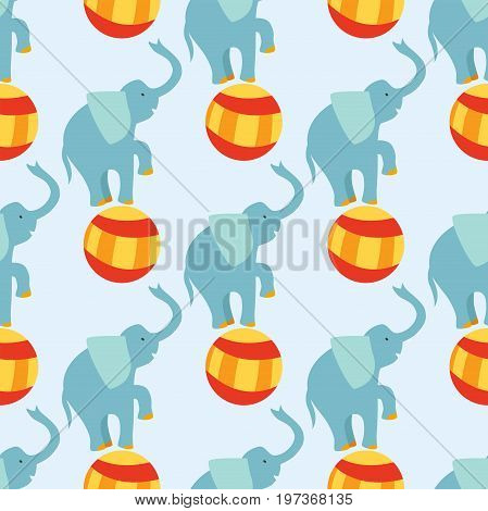 Circus funny performance elephant animal vector seamless pattern cheerful zoo entertainment. Juggler pets magician performer carnival illustration. Vintage acrobat character.