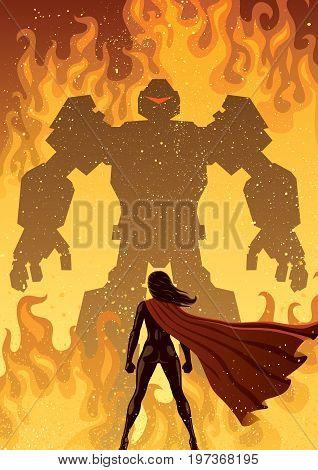 Super heroine facing a giant evil robot. poster