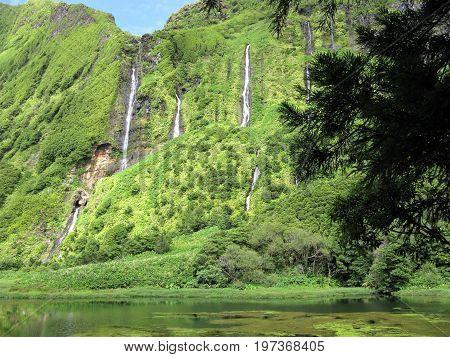 Waterfalls at Lagoa dos Patos, Flores island, The Azores