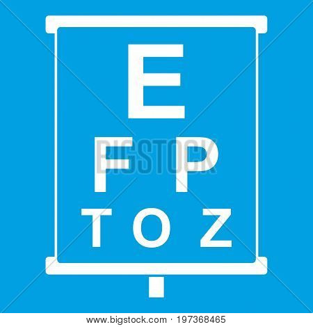 White placard with letters eyesight testing icon white isolated on blue background vector illustration