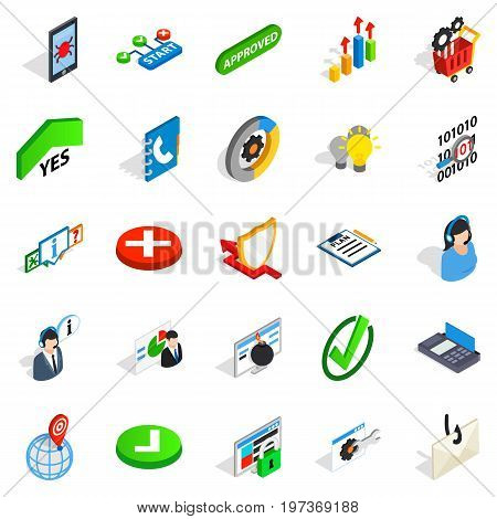 Business model icons set. Isometric set of 25 business model vector icons for web isolated on white background
