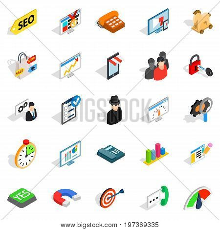 SEO help icons set. Isometric set of 25 SEO help vector icons for web isolated on white background