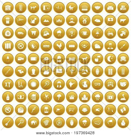 100 cow icons set in gold circle isolated on white vector illustration