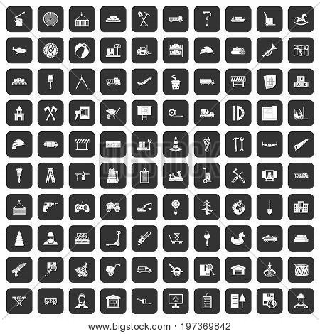 100 lorry icons set in black color isolated vector illustration
