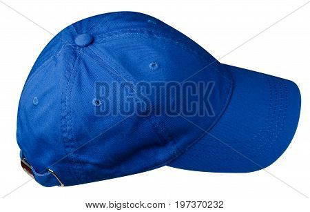 Hat Isolated On White Background.blue Hat With A Visor