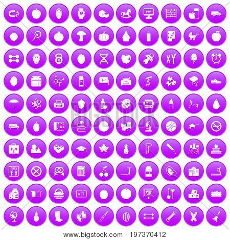 100 apple icons set in purple circle isolated on white vector illustration