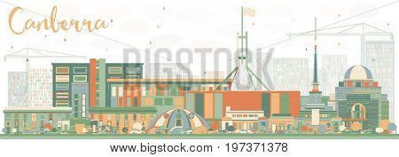 Abstract Canberra Skyline with Color Buildings. Business Travel and Tourism Concept with Modern Architecture. Image for Presentation Banner Placard and Web Site.