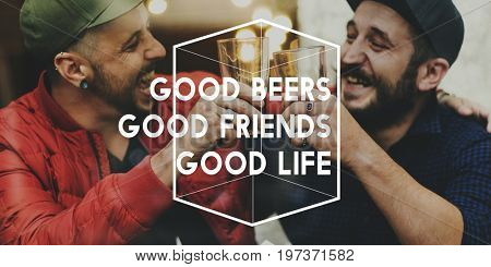 Friends Drink Beer Together Happiness Cheers