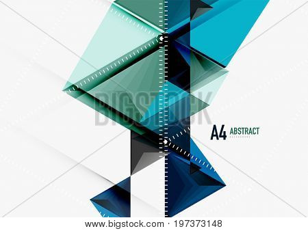 Triangular low poly a4 size geometric abstract template. Multicolored triangles on light background, futuristic techno or business design