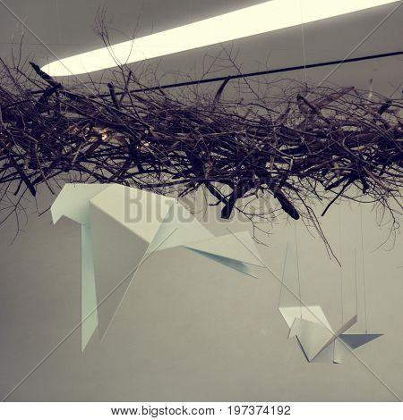 Seoul - July 2017: Paper birds instalation in Dongdaemun Design Plaza.
