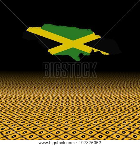 Jamaica map flag with hurricane warning sign foreground 3d illustration