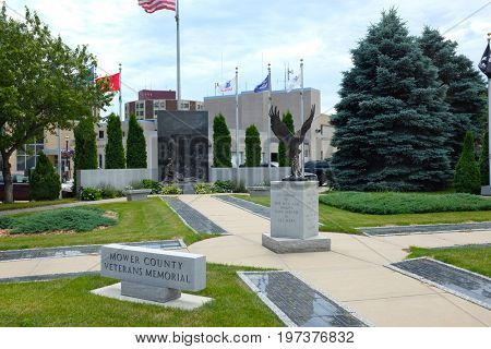 AUSTIN, MINNESOTA - JUNE 21, 2017: Mower County Veterans Memorial. The Walk of Remembrance honors those who served in the military from the Civil War to the present.