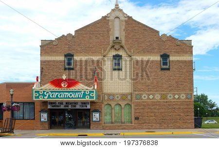 AUSTIN, MINNESOTA - JUNE 21, 2017: The Paramount Theater. The building is currently used by the Matchbox Childrens Theater and events sponsored by the Austin Area Commission for the Arts.