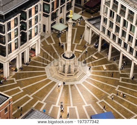 Paternoster Square, London, 27th,July,2017.  The Square next to St Paul's Cathedral was devastated by bombs in The Blitz World War II. It is now the location of the London Stock Exchange.