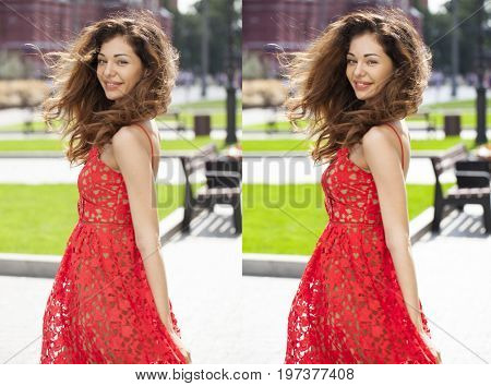 Portrait of a beautiful women smiling in summer red dress in the park, before and after retouching. Edited photos being compared.