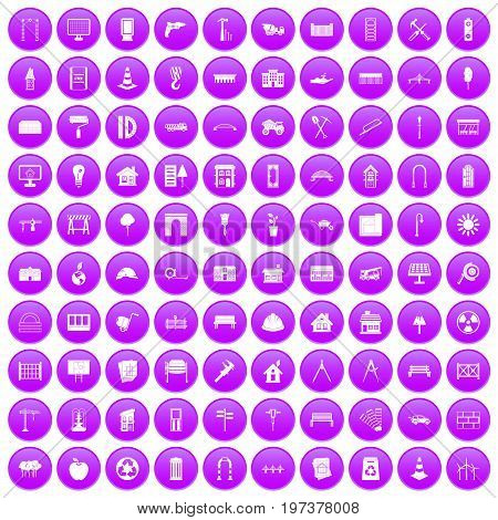 100 architecture icons set in purple circle isolated on white vector illustration