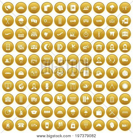 100 dispatcher icons set in gold circle isolated on white vectr illustration