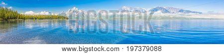 Pano of The Grand Teton National Park Mountain Range in Wyoming, USA.