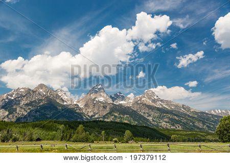 Grand Tetons National Park Mountain Range in Wyoming, USA.
