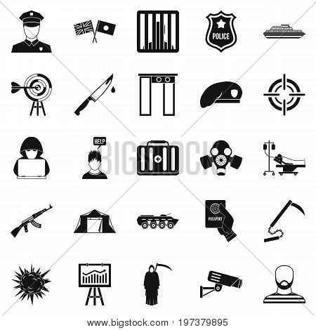Special forces icons set. Simple set of 25 special forces icons for web isolated on white background