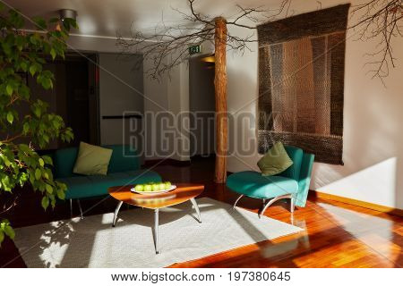 Caramanico Terme Abruzzo Italy - November 22 2014: nice living room full of the morning sunlight inside La Reserve Hotel a famous wellness center at Caramanico Terme.
