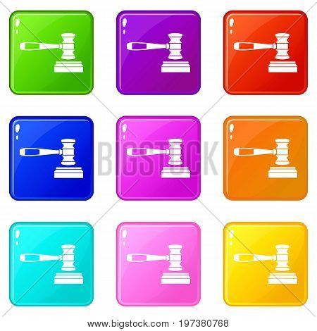 Judge gavel icons of 9 color set isolated vector illustration