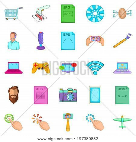 Game console icons set. Cartoon set of 25 game console vector icons for web isolated on white background