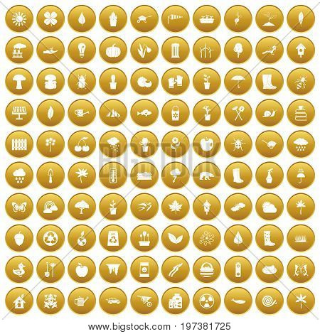 100 garden stuff icons set in gold circle isolated on white vectr illustration