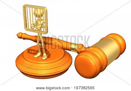 Prisoner Law Concept With The Original 3D Character Illustration