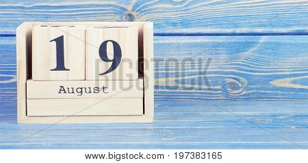Vintage Photo, August 19Th. Date Of 19 August On Wooden Cube Calendar