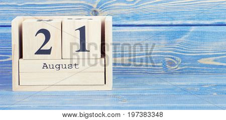 Vintage Photo, August 21Th. Date Of 21 August On Wooden Cube Calendar