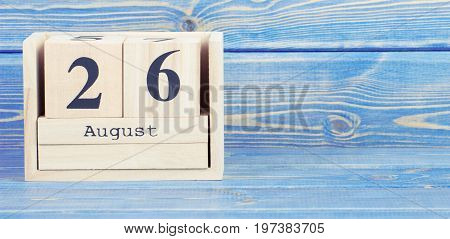 Vintage Photo, August 26Th. Date Of 26 August On Wooden Cube Calendar