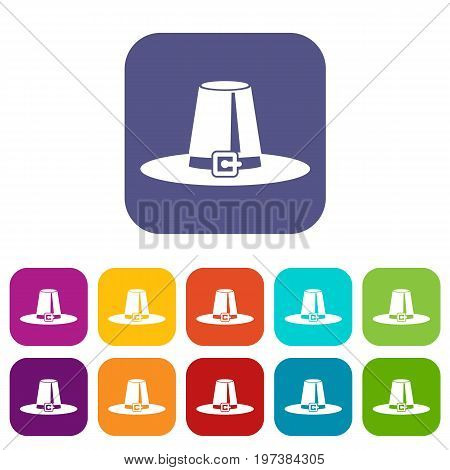 Pilgrim hat icons set vector illustration in flat style in colors red, blue, green, and other