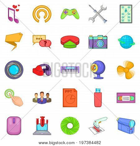 Computer application icons set. Cartoon set of 25 computer application vector icons for web isolated on white background