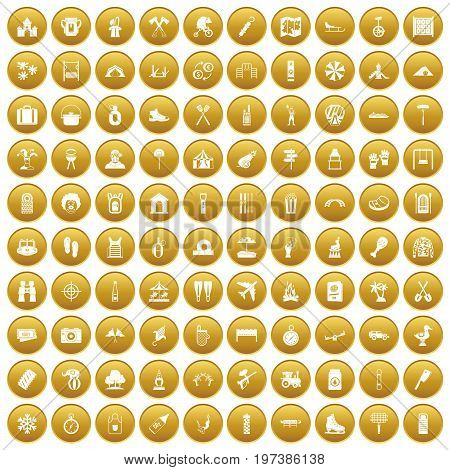 100 holidays family icons set in gold circle isolated on white vectr illustration