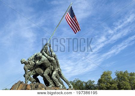 Raising of the flag monument. The historic and emotional Iwo Jima memorial in Arlington Virginia.