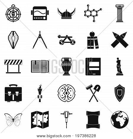 Archeology icons set. Simple set of 25 archeology vector icons for web isolated on white background