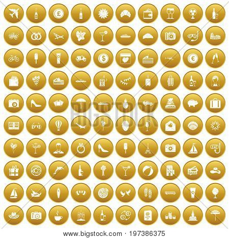 100 honeymoon icons set in gold circle isolated on white vectr illustration