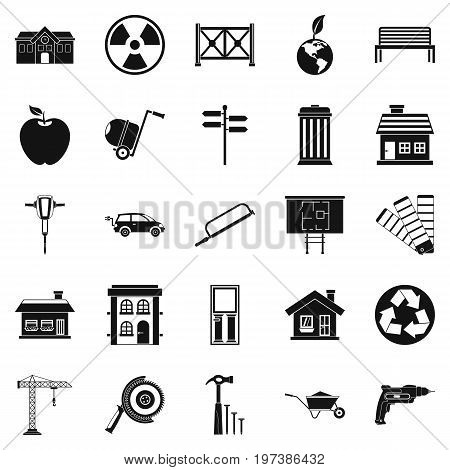 Earthwork icons set. Simple set of 25 earthwork vector icons for web isolated on white background