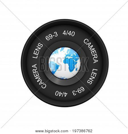 Earth Globe on Vintage Camera Photo Lens on a white background. 3d Rendering.
