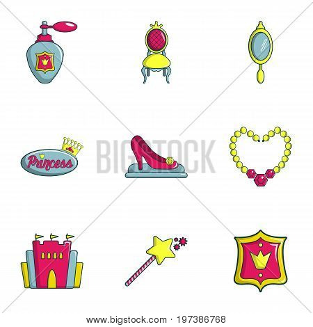 Princess icons set. Flat set of 9 princess vector icons for web isolated on white background