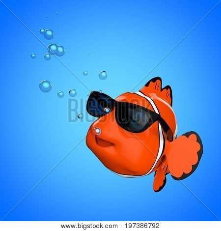 Cartoon Fun Red Sea Clownfish with Sunglasses on a blue background. 3d Rendering.