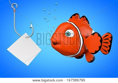 Cartoon Red Sea Clownfish Looking on a Fishhook with Blank Paper on a blue background. 3d Rendering.