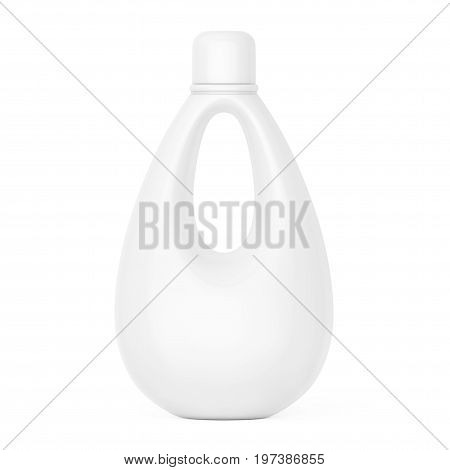 White Blank Plastic Bottle for Bleach Liquid Laundry Detergent or Fabric Softener on a white background. 3d Rendering.