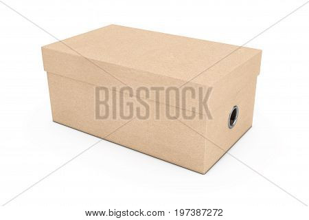 Blank Cardboard Shoe Box Mockup for your Design on a white background. 3d Rendering
